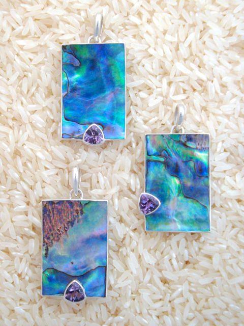 Paua Abalone Pendant Medium Rectangular: Trill Amethyst