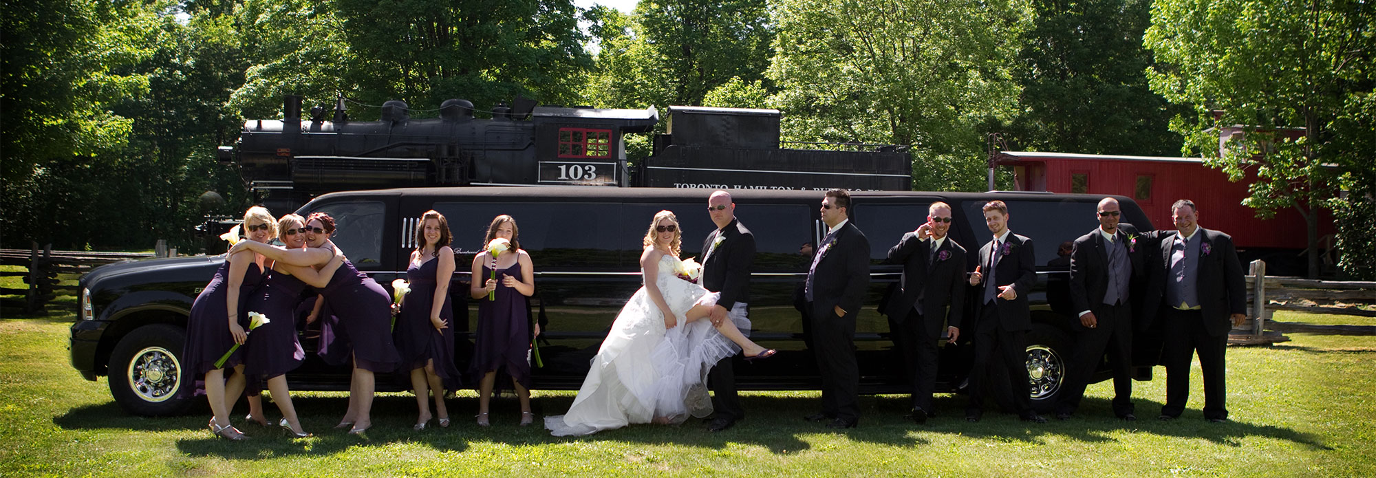 Wedding black limousine waterloo park