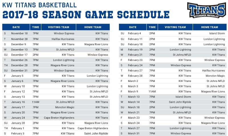 KW Titans 2017-2018 season Game Schedule