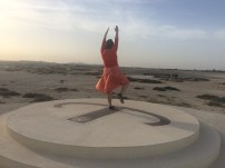 Lindsey being a sun dial.