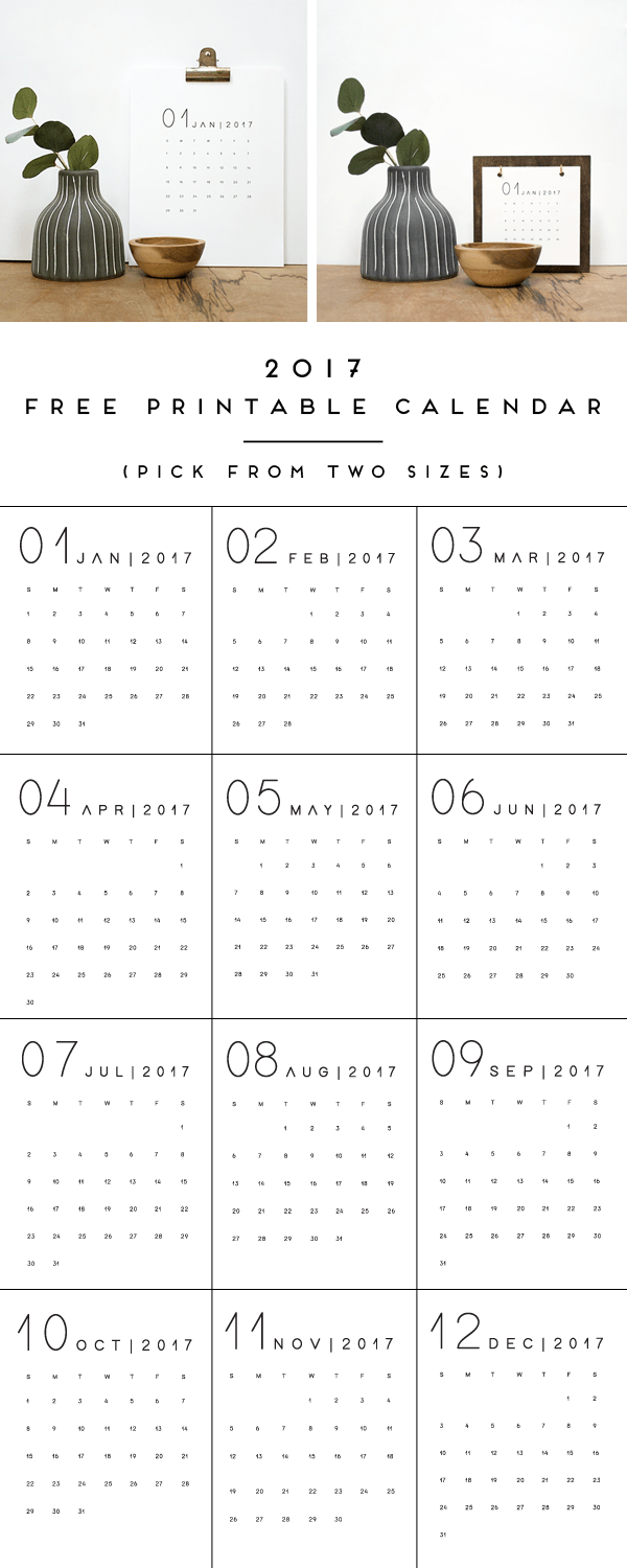Choose from TWO sizes of this 2017 FREE Printable Calendar that's modern and simple!