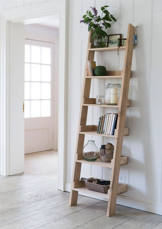 Ladder Patterned Library Shelf With 1 Bottom Drawer Brown