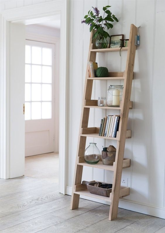 How To Build A Diy Leaning Ladder Shelf Step By Step Guide   Simple House Ladder Design   Space Saving Staircase   Easy   Outside   All In House   Person