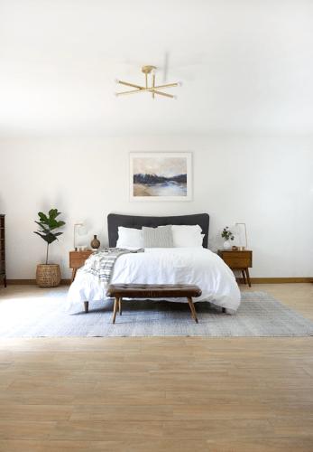 Wood Look Tile Floors in a Modern Boho Bedroom