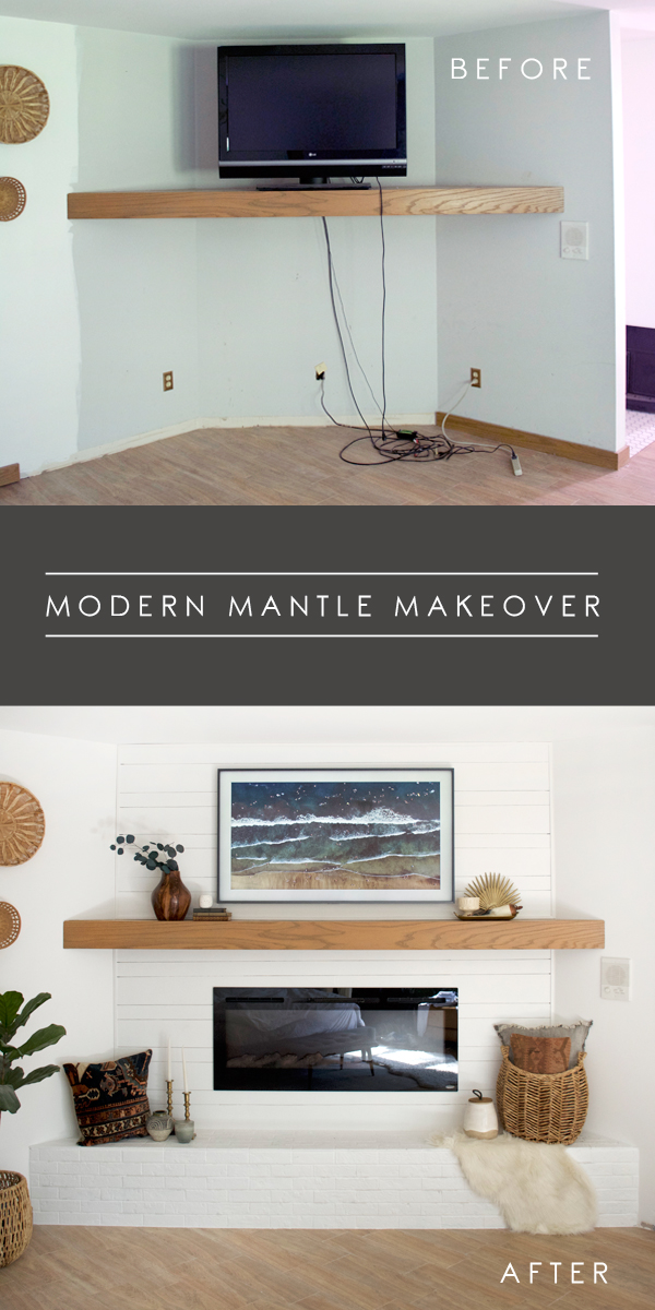 modern mantle and fireplace makeover