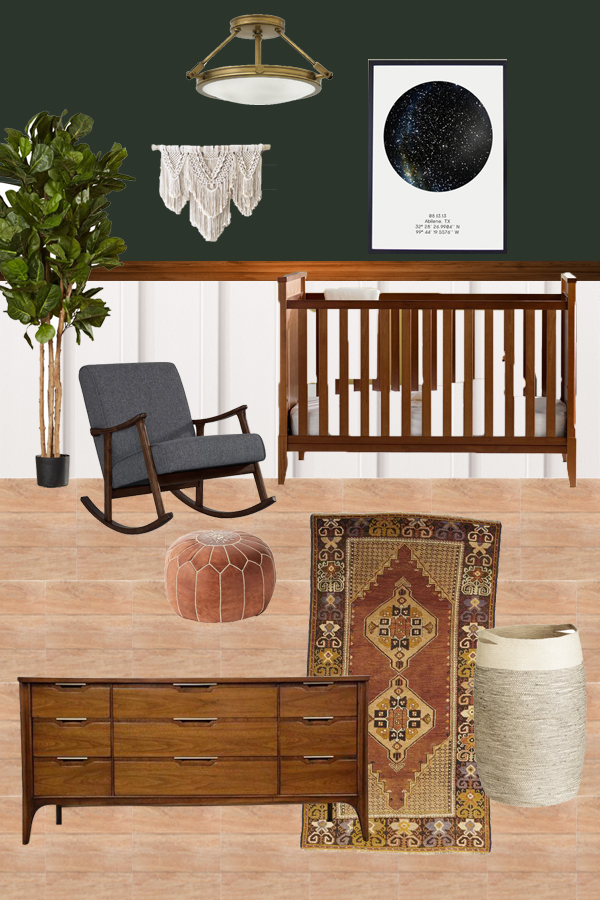 Modern Boho Boy's Nursery Design Plan