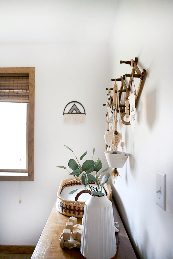 vintage decor with neutral colors in a nursery