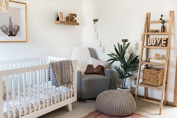 modern boho little girl's nursery
