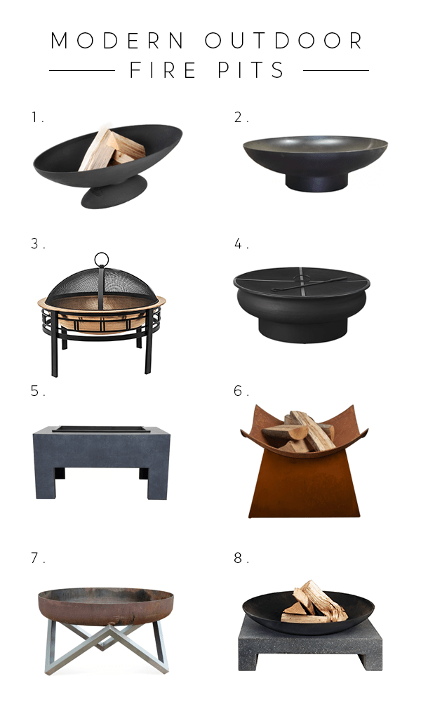 a round up of modern outdoor fire pits