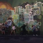 Moment folie devant un graffiti de Lapa