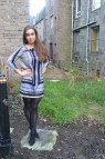 Blue Patterned Dress Aim Winter Style