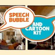 speech bubble cartoon kit double box logo