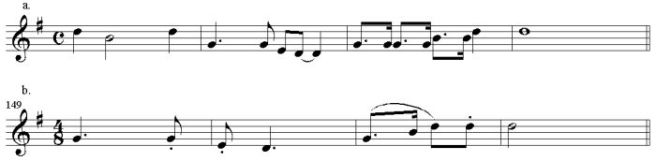 Example 2a Swing Low, Sweet Chariot; 2b Adagio, m. 149.