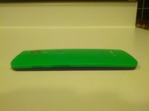Moto X laying down without case.