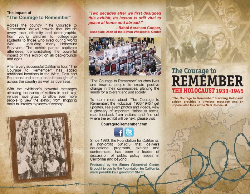 "The Courage To Remember"" Holocaust Exhibit Brochure Client Simon"