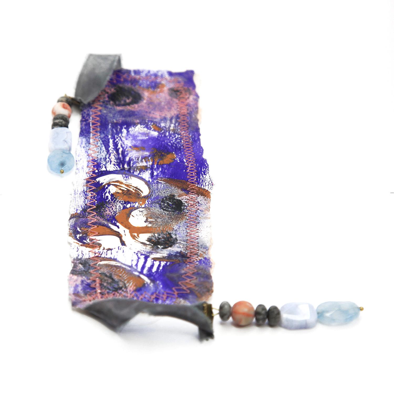 bookmark_original_artwork_silk_hand_dyed_ribbon_gemstone_crystal_aquamarine_black_zebra_back