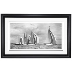 Framed black and white photograph of sailing boats Britannia, Velsheda, Shamrock, Candida and Astra. Picture taken by Frank Beken in Cowes in 1934. Photograph scanned from original Glass plate negative from Beken of Cowes Archive. Available for sale at Brett Gallery. Beken of Cowes Framed Prints, Beken of Cowes archives, Beken of Cowes Prints, Beken Archive, Cowes Week old Photographs, Beken Prints, Frank beken of Cowes.