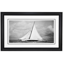 Framed black and white photograph of sailing yacht Cambria sailing at sea. This photograph was scanned from original glass plate negative and photographed by Frank Beken in 1930. Available for purchase from Brett Gallery. Beken of Cowes Framed Prints, Beken of Cowes archives, Beken of Cowes Prints, Beken Archive, Cowes Week old Photographs, Beken Prints, Frank beken of Cowes.