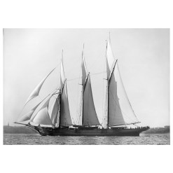 Black and White photograph of sailing boat Chazalie sailing at sea. Taken by marine photographer Alfred John West in 1883. printed from original glass plate negatives from period. Available for purchase form Brett Gallery. Beken of Cowes Framed Prints, Beken of Cowes archives, Beken of Cowes Prints, Beken Archive, Cowes Week old Photographs, Beken Prints, Frank beken of Cowes.