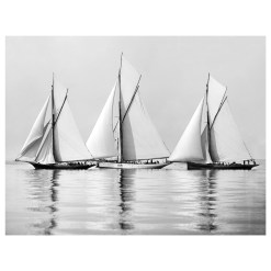 This picture was take in 1885 by Alfred John West. Its a black and white photograph of three sailing boats becalmed at sea. Photograph was scanned from original glass plate negative from period. Available to purchase from Brett Gallery. Beken of Cowes Framed Prints, Beken of Cowes archives, Beken of Cowes Prints, Beken Archive, Cowes Week old Photographs, Beken Prints, Frank beken of Cowes.