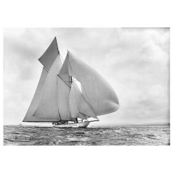 Amazing Black and White, silver gelatin Photograph of sailing yacht Germania sailing at sea. Picture was taken by Frank Beken on his handmade camera in 1908. Available to purchase from Brett Gallery in different sizes. Beken of Cowes Framed Prints, Beken of Cowes archives, Beken of Cowes Prints, Beken Archive, Cowes Week old Photographs, Beken Prints, Frank beken of Cowes.