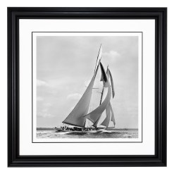Amazing Framed Black and White, silver gelatin, Limited edition Photograph of sailing yacht Germania sailing at sea. Picture was taken by Frank Beken on his handmade camera in 1908. Available to purchase from Brett Gallery in different sizes. Beken of Cowes Framed Prints, Beken of Cowes archives, Beken of Cowes Prints, Beken Archive, Cowes Week old Photographs, Beken Prints, Frank beken of Cowes.
