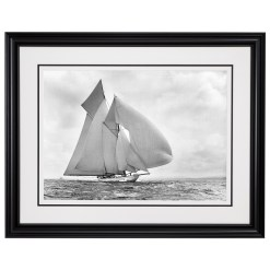 Framed stunning limited edition, silver gelatine, black and white photographs of sailing yacht Germania taken by Frank Beken in 1908 at sea. This photograph was scanned form original glass plate negatives form period. Available for sale at Brett Gallery. Beken of Cowes Framed Prints, Beken of Cowes archives, Beken of Cowes Prints, Beken Archive, Cowes Week old Photographs, Beken Prints, Frank beken of Cowes.