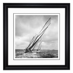 Stunning Framed Black and White photograph of three sailing yachts Kariad, Nyria and White Heather sailing at sea. This Picture was printed from original glass plate negative from period. This Photograph was take by Alfred John West in 1906. Available to purchase from Brett Gallery. Beken of Cowes Framed Prints, Beken of Cowes archives, Beken of Cowes Prints, Beken Archive, Cowes Week old Photographs, Beken Prints, Frank beken of Cowes.