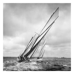 Square, black and white, silver gelatin, Limited edition photograph of sailing yachts Kariad, Nyria, Heather taken by a great marine Photographer Alfred John West on his handmade camera. This photograph was scanned from the original glass plate negatives dated 1906. this photograph can be purchased from Brett Gallery. Beken of Cowes Framed Prints, Beken of Cowes archives, Beken of Cowes Prints, Beken Archive, Cowes Week old Photographs, Beken Prints, Frank beken of Cowes.