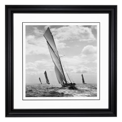 Framed Black and White, Silver Gelatin, Limited Edition photograph of sailing yachts Mermaid, Kariad and White Heather taken by a famous photographer Alfred John West in 1906. This photograph was scanned from the original glass plate negative and was printed in the dark room as they used to do it in period. This photograph is available to purchase form Brett Gallery in 4 different sizes. Beken of Cowes Framed Prints, Beken of Cowes archives, Beken of Cowes Prints, Beken Archive, Cowes Week old Photographs, Beken Prints, Frank beken of Cowes.
