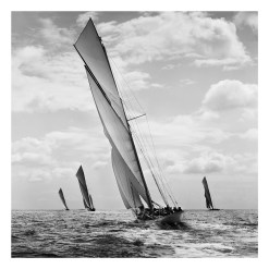Unframed, Silver Gelatin, Limited Edition, Black and White Photograph of sailing yachts and boats Merrymaid, Kariad and White Heather taken by a great marine photographer Alfred John West in 1906. This Photograph was scanned from original glass plate negative and developed in the darkroom at Brett Gallery. Available for purchase in different sizes. Beken of Cowes Framed Prints, Beken of Cowes archives, Beken of Cowes Prints, Beken Archive, Cowes Week old Photographs, Beken Prints, Frank beken of Cowes.