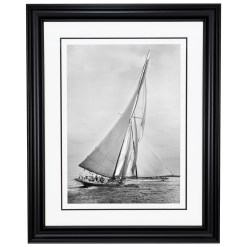 Framed Limited edition, Silver Gelatin, Black and White Photograph of sailing boat Meteor 2 and Ailsa. Available to purchase in various sizes from the Brett Gallery. this picture was developed in the darkroom and scanned from original glass plat negative from period. Taken by a famous marine photographer Frank Beken in 1911. Beken of Cowes Framed Prints, Beken of Cowes archives, Beken of Cowes Prints, Beken Archive, Cowes Week old Photographs, Beken Prints, Frank beken of Cowes.