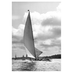 Unframed Black and White, Silver Gelatin, Limited edition Photograph of sailing yacht Nyria. Taken by a famous marine photographer Frank Beken in 1923. This photograph was scanned from original glass plate negatives and developed in the dark room as they used to do it period. Available to purchase in deferent sizes from Brett Gallery. Beken of Cowes Framed Prints, Beken of Cowes archives, Beken of Cowes Prints, Beken Archive, Cowes Week old Photographs, Beken Prints, Frank beken of Cowes.