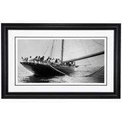 Framed Limited edition, Silver Gelatin, Black and White Photograph of sailing boat Prince of Wales Yacht Britannia when all the sailors are puling the rope from the water. Taken by a talented marine photographer Alfred John West in 1897. This photograph was scanned from original glass plate negatives and developed in the dark room as they used to do it period. Available to purchase in deferent sizes from Brett Gallery. Beken of Cowes Framed Prints, Beken of Cowes archives, Beken of Cowes Prints, Beken Archive, Cowes Week old Photographs, Beken Prints, Frank beken of Cowes.