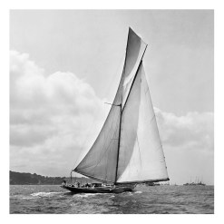 Unframed Black and White, Silver Gelatin, Limited edition Photograph of sailing yacht Prince of Wales Yacht Britannia with a beautiful set of clouds on the background. Taken by a famous marine photographer Frank Beken in 1923. This photograph was scanned from original glass plate negatives and developed in the dark room as they used to do it period. Available to purchase in deferent sizes from Brett Gallery. Beken of Cowes Framed Prints, Beken of Cowes archives, Beken of Cowes Prints, Beken Archive, Cowes Week old Photographs, Beken Prints, Frank beken of Cowes.