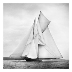 Unframed Black and White, Silver Gelatin, Limited edition Photograph of sailing yacht Rainbow sailing at sea with full sails of wind. Taken by a talented marine photographer Alfred John West in 1898. This photograph was scanned from original glass plate negatives and developed in the dark room as they used to do it period. Available to purchase in deferent sizes from Brett Gallery. Beken of Cowes Framed Prints, Beken of Cowes archives, Beken of Cowes Prints, Beken Archive, Cowes Week old Photographs, Beken Prints, Frank beken of Cowes.