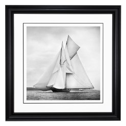 Framed Limited edition, Silver Gelatin, Black and White Photograph of sailing boat Rainbow sailing at sea with full sails of wind. Taken by a talented marine photographer Alfred John West in 1898. Available to purchase in various sizes from the Brett Gallery. This picture was developed in the darkroom and scanned from original glass plat negative from period. Beken of Cowes Framed Prints, Beken of Cowes archives, Beken of Cowes Prints, Beken Archive, Cowes Week old Photographs, Beken Prints, Frank beken of Cowes.