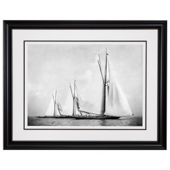 Framed Limited edition, Silver Gelatin, Black and White Photograph of sailing boat Satanita, Britannia and Meteor 2. Taken by a talented marine photographer Alfred John West in 1886. Available to purchase in various sizes from the Brett Gallery. This picture was developed in the darkroom and scanned from original glass plat negative from period. Beken of Cowes Framed Prints, Beken of Cowes archives, Beken of Cowes Prints, Beken Archive, Cowes Week old Photographs, Beken Prints, Frank beken of Cowes.