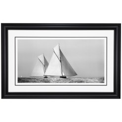 Framed Black and White, Silver Gelatin, Limited edition Photograph of sailing yacht Shamrock 1 chasing Britannia. Taken by a famous marine photographer Frank Beken in 1899. Available to purchase in various sizes from the Brett Gallery. This picture was developed in the darkroom and scanned from original glass plat negative from period. Beken of Cowes Framed Prints, Beken of Cowes archives, Beken of Cowes Prints, Beken Archive, Cowes Week old Photographs, Beken Prints, Frank beken of Cowes.