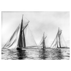 Unframed Black and White, Silver Gelatin, Limited edition Photograph of sailing yacht Sonya Becalmed. Taken by a famous marine photographer Frank Beken in 1905. This photograph was scanned from original glass plate negatives and developed in the dark room as they used to do it period. Available to purchase in deferent sizes from Brett Gallery. Beken of Cowes Framed Prints, Beken of Cowes archives, Beken of Cowes Prints, Beken Archive, Cowes Week old Photographs, Beken Prints, Frank beken of Cowes.