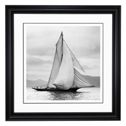 Framed Limited edition, Silver Gelatin, Black and White Photograph of sailing boat Thistle on the Clyde sailing in Scotland. Taken by a talented marine photographer Alfred John West in 1893. Available to purchase in various sizes from the Brett Gallery. This picture was developed in the darkroom and scanned from original glass plat negative from period. Beken of Cowes Framed Prints, Beken of Cowes archives, Beken of Cowes Prints, Beken Archive, Cowes Week old Photographs, Beken Prints, Frank beken of Cowes.