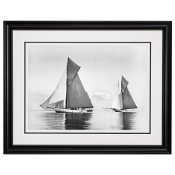 Framed Limited edition, Silver Gelatin, Black and White Photograph of sailing boat Valdora and Cicely sailing at see. Taken by a famous marine photographer Frank Beken in 1903. Available to purchase in various sizes from the Brett Gallery. This picture was developed in the darkroom and scanned from original glass plat negative from period. Beken of Cowes Framed Prints, Beken of Cowes archives, Beken of Cowes Prints, Beken Archive, Cowes Week old Photographs, Beken Prints, Frank beken of Cowes.