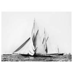 Unframed Black and White, Silver Gelatin, Limited edition Photograph of sailing yacht Valkyrie 2 and Vigilant at Start of the Americas Cup Race. Taken by a talented marine photographer Henry G Peabody in 1855. This photograph was scanned from original glass plate negatives and developed in the dark room as they used to do it period. Available to purchase in deferent sizes from Brett Gallery. Beken of Cowes Framed Prints, Beken of Cowes archives, Beken of Cowes Prints, Beken Archive, Cowes Week old Photographs, Beken Prints, Frank beken of Cowes.