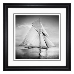 Framed Limited edition, Silver Gelatin, Black and White Photograph of sailing boat Valkyrie 3 sailing at sea. Taken by a talented marine photographer Alfred John West in 1895. Available to purchase in various sizes from the Brett Gallery. This picture was developed in the darkroom and scanned from original glass plat negative from period. Beken of Cowes Framed Prints, Beken of Cowes archives, Beken of Cowes Prints, Beken Archive, Cowes Week old Photographs, Beken Prints, Frank beken of Cowes.
