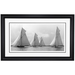 Framed Limited edition, Silver Gelatin, Black and White Photograph of sailing boats Vanity, Mariska, Ostara and Paula sailing at sea. Taken by a famous marine photographer Frank Beken in 1912. Available to purchase in various sizes from the Brett Gallery. This picture was developed in the darkroom and scanned from original glass plat negative from period. Beken of Cowes Framed Prints, Beken of Cowes archives, Beken of Cowes Prints, Beken Archive, Cowes Week old Photographs, Beken Prints, Frank beken of Cowes.