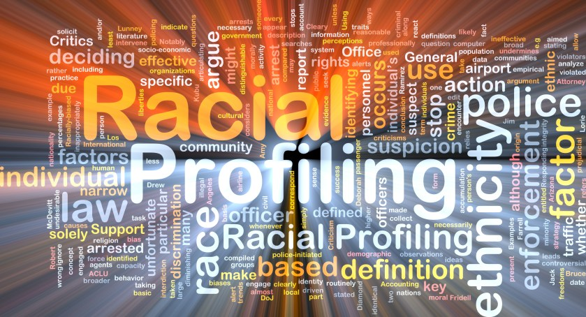 Background text pattern concept wordcloud illustration of racial profiling glowing light