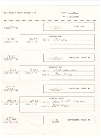 Monday Night Sports call sheet for Spud Webb
