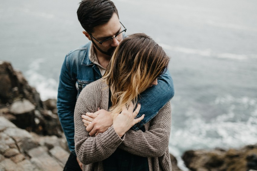 moody maine coast engagement photographer