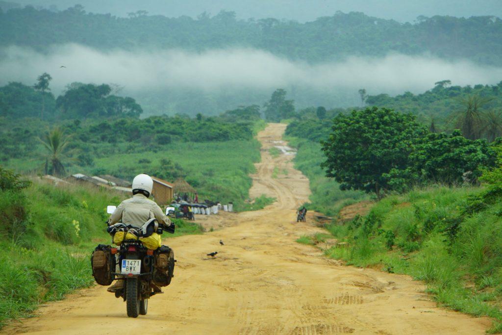 Miguel riding through Africa