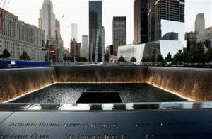 Bronze panels bearing the names of 9/11 victims around the perimeter of the 9/11 Memorial North Pool, are pictured  prior to ceremonies marking the tenth anniversary of the 9/11 attacks at the site of the World Trade Center in New York